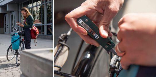 Woman biker using Leatherman FREE T4 multi-tool to adjust screws on her bicycle.