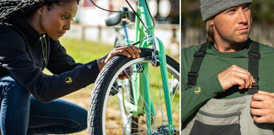 Bicyclist wearing a black Leatherman hoodie, and a fisherman wearing a green Leatherman long sleeve tee and grey beanie.