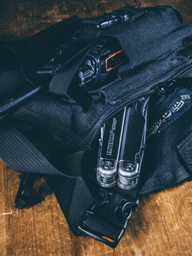 Leatherman tool with bag of gear