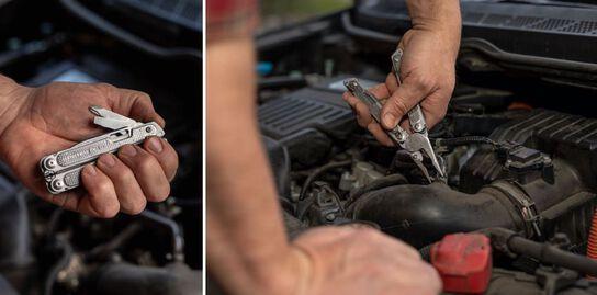 Mécanicien automobile utilisant le multi-outils FREE P4 pour travailler sur le moteur d'une voiture.
