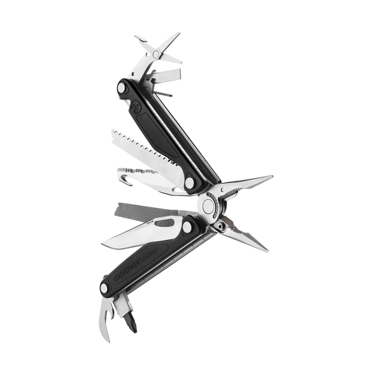 Leatherman heritage charge plus multi-tool, stainless steel, angled open view, 18 tools