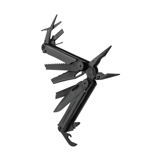 Leatherman wave plus multi-tool, black, angled open view, 17 tools