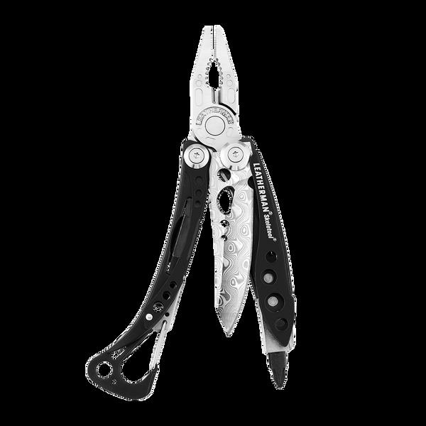 Leatherman skeletool damasteel multi-tool, black, open view, 7 tools