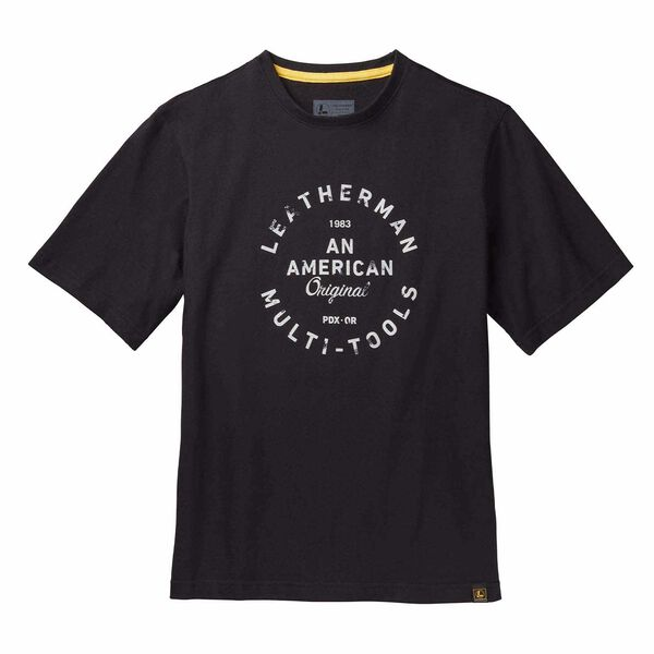 Black short sleeve T-Shirt with heritage badge front side image number 0