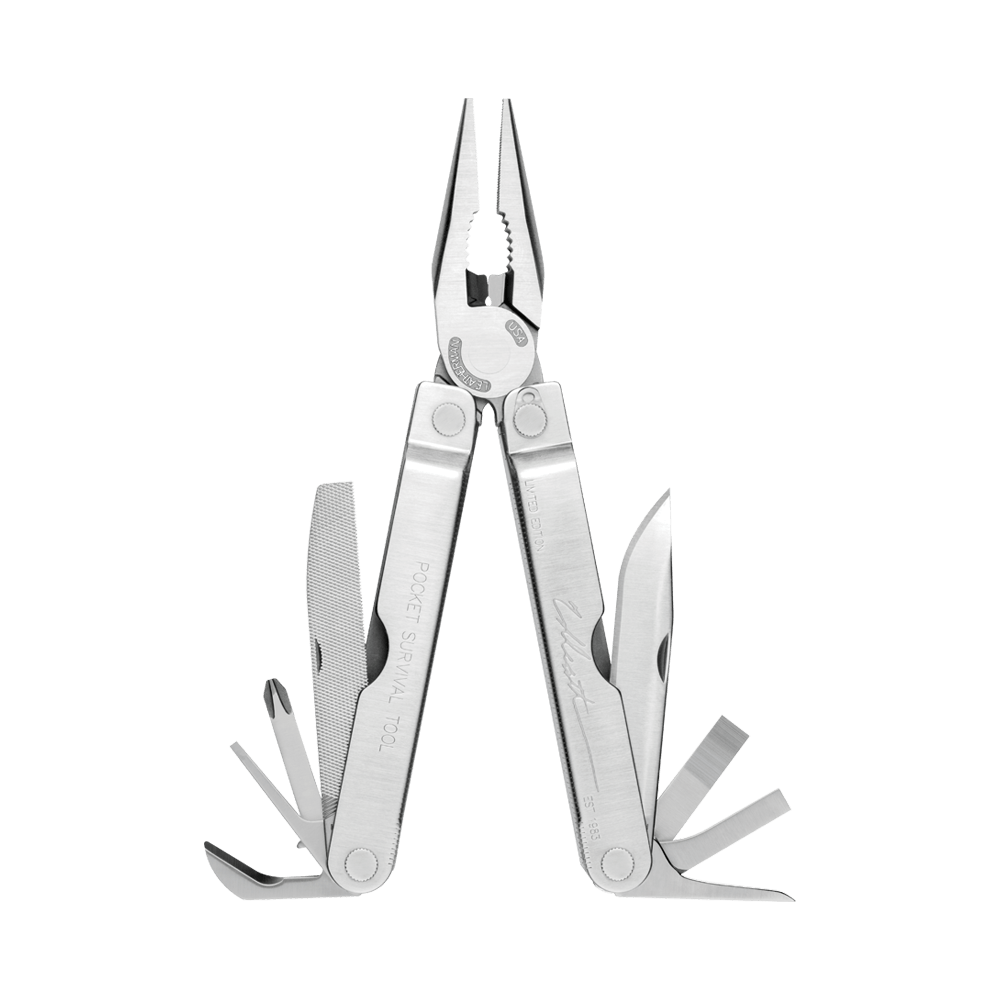 Leatherman collector's edition pocket survival multi-tool, stainless steel, 14 tools, open view