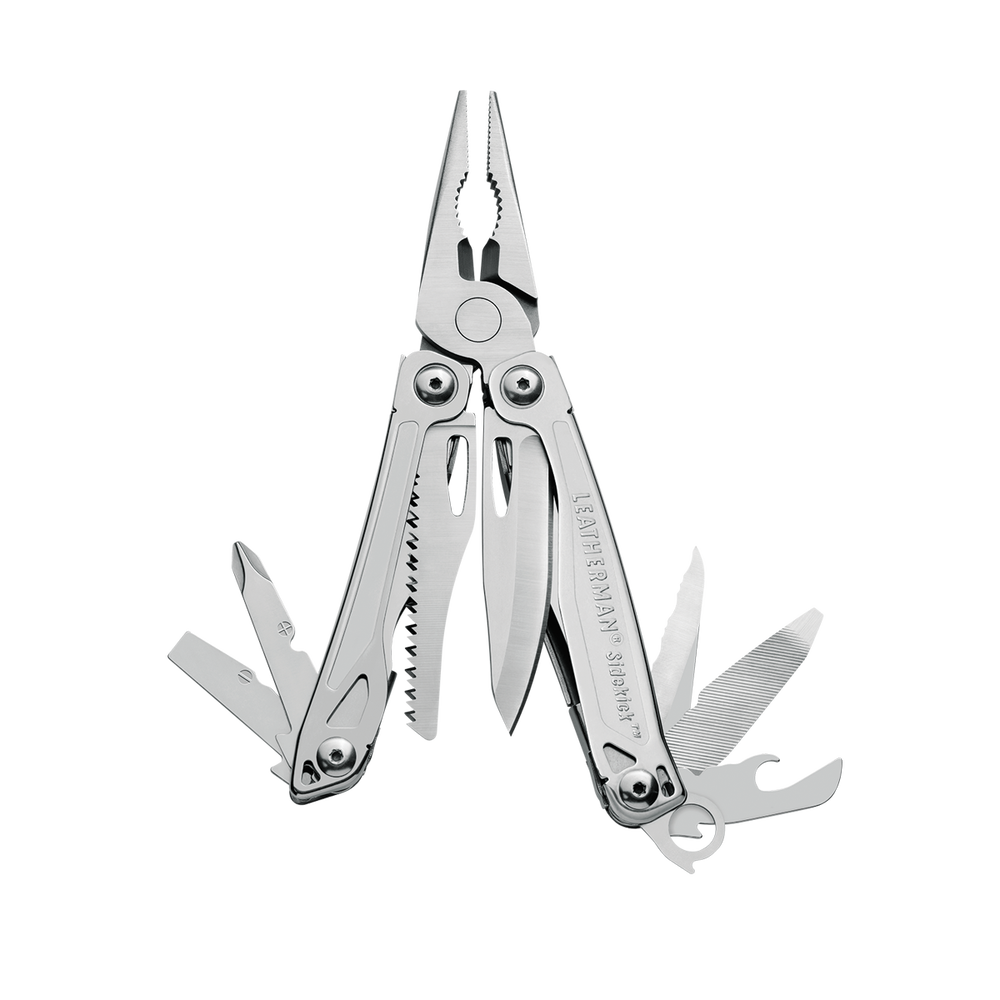 Leatherman sidekick multi-tool, stainless steel, pocket sized, 14 tools, open view