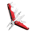 Leatherman leap multi-tool, red, angled open view, 13 tools, children multi-tool