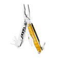 Leatherman juice c2 multi-tool, yellow, 12 tools, angled open view