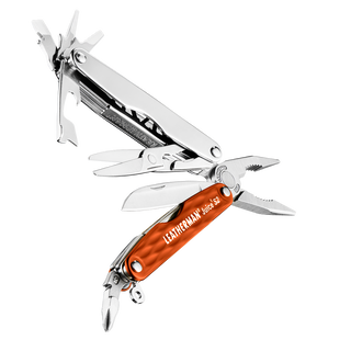 Leatherman juice s2 multi-tool, red, open view, 12 tools