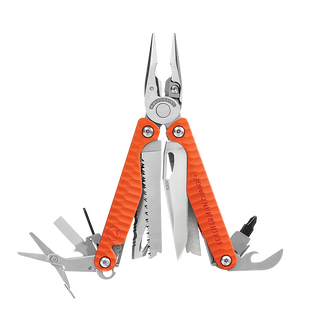 A red Leatherman Charge+ G10 multi-tool with the 19 tools fanned open