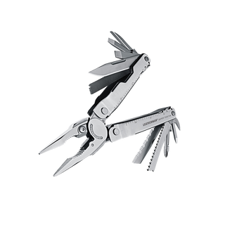 Leatherman super tool 300 multi-tool, stainless steel, 19 tools, angled open view