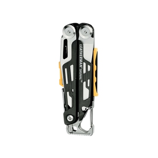 Leatherman signal multi-tool, stainless steel, closed view, 19 tools