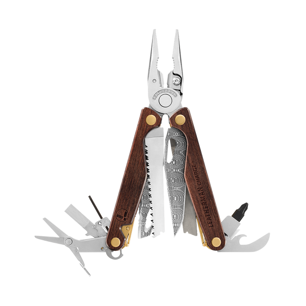 Leatherman limited edition Charge® Plus multi-tool, classic wood handles, open view, 18 tools