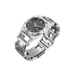Leatherman Tread Tempo LT multi-tool watch, detail view, stainless steel, 28 tools