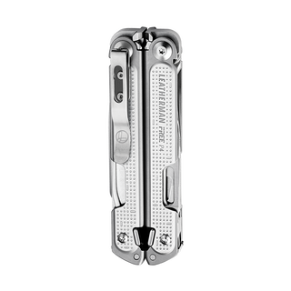 Leatherman FREE P4, stainless steel, closed backside with pocket clip