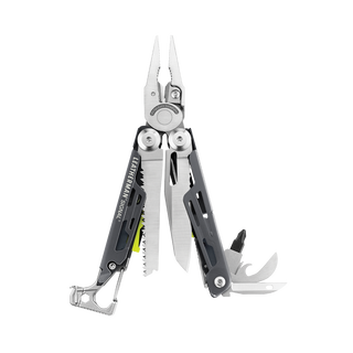 Leatherman signal multi-tool, stainless steel, fanned view, 19 tools