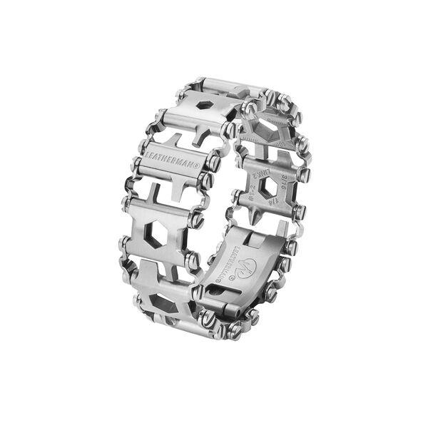 Leatherman tread multi-tool bracelet in stainless steel, 29 tools, angled view image number 0