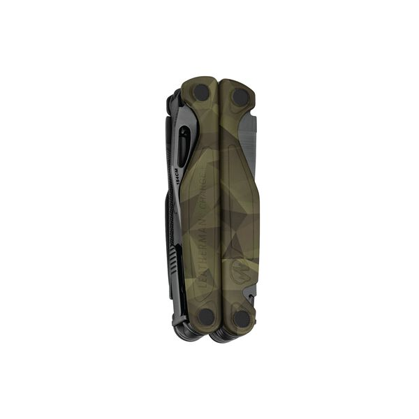 Leatherman Charge multi-tool, closed view, forest camo, 19 tools image number 1