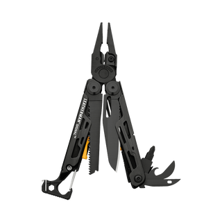 Leatherman signal multi-tool, black, open view, 19 tools