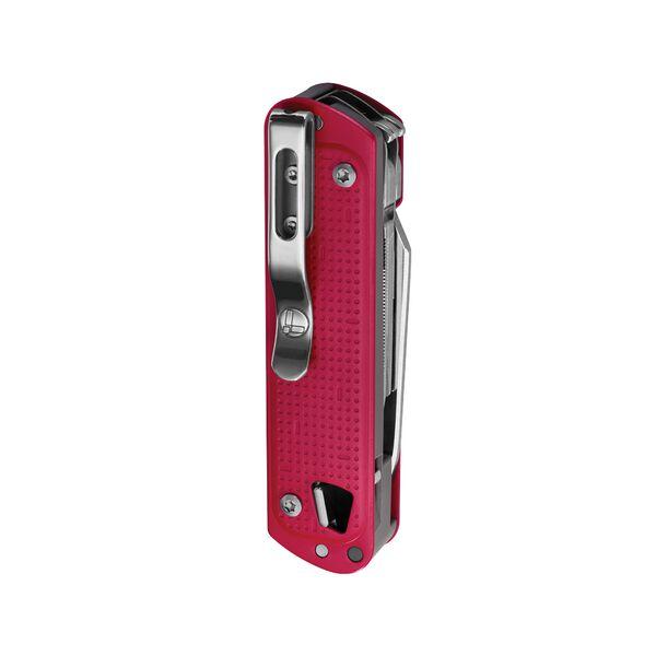 Vue arrière de l'outil de poche et clip de poche Leatherman T4 rouge cramoisi avec tous les outils fermés image number 2