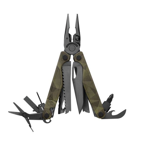 Leatherman Charge multi-tool, open view, forest camo, 19 tools image number 0