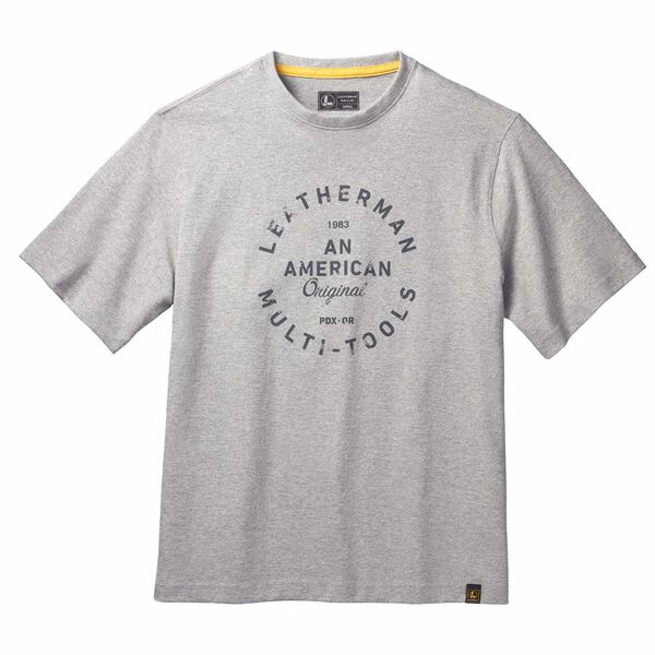 Gray short sleeve T-Shirt with heritage badge front side image 0