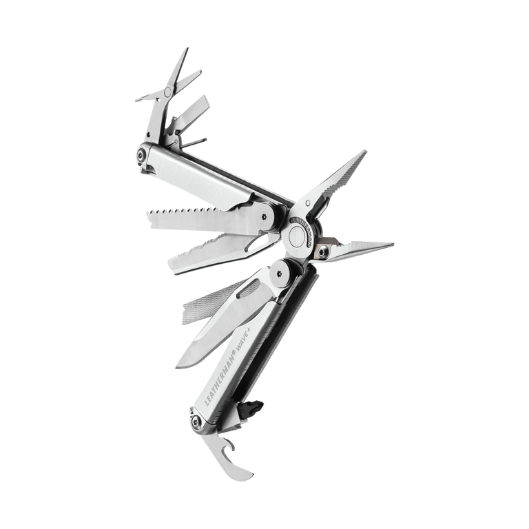 Leatherman wave plus multi-tool, stainless steel, angled open view, 17 tools