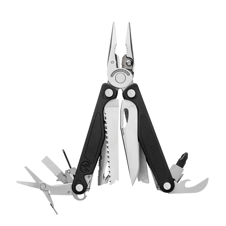 Leatherman heritage charge plus multi-tool, stainless steel, open view, 18 tools