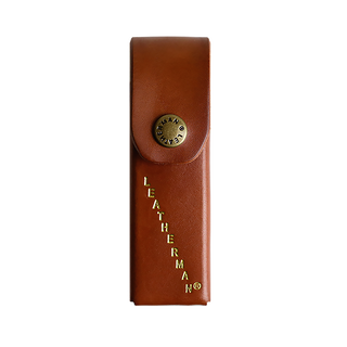 Leatherman brown sheath for multi-tool, gold letterings