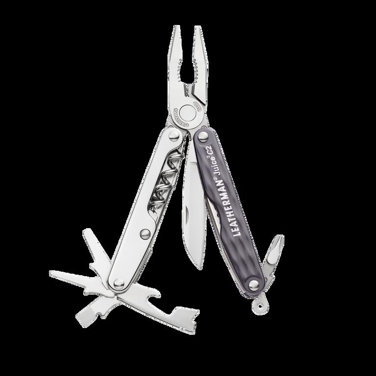 Leatherman juice c2 multi-tool, granite, 12 tools, open view