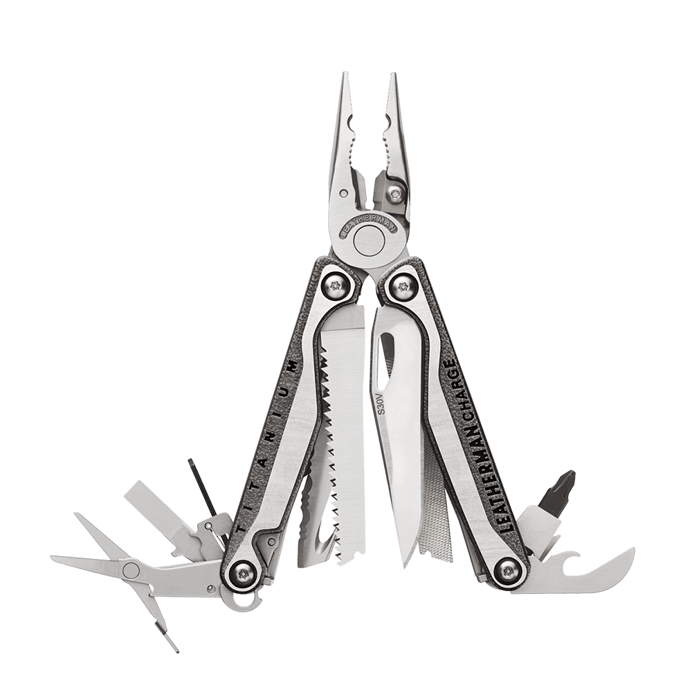 Leatherman charge plus tti titanium multi-tool, stainless steel, open view