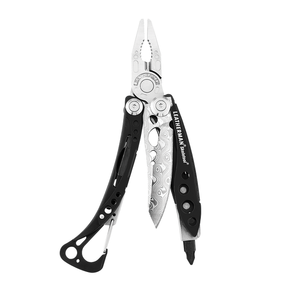 Leatherman skeletool damasteel multi-tool, black, open view, 7 tools