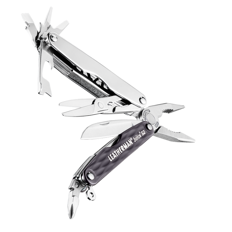 Leatherman juice s2 multi-tool, granite, open view, 12 tools