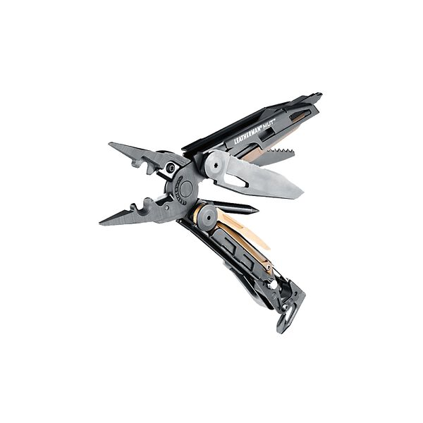 Leatherman mut eod multi-tool, open angle view, 15 tools, black image number 3