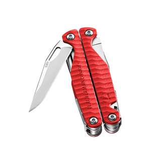 A closed red Leatherman Charge+ G10 multi-tool with the knife blade partially open