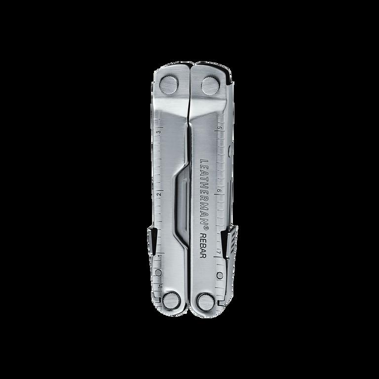 Leatherman Rebar multi-tool, stainless steel, 17 tools, closed view