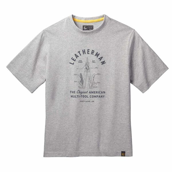 Gray short sleeve T-Shirt with PST badge front side image number 0