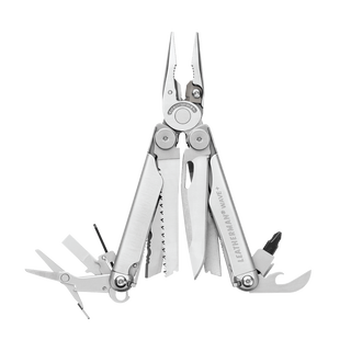 Leatherman wave plus multi-tool, stainless steel, open view, 17 tools