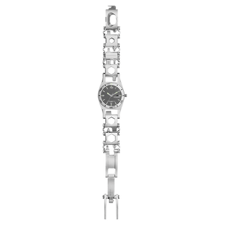 Leatherman Tread Tempo LT multi-tool watch, lay flat view, stainless steel, 28 tools