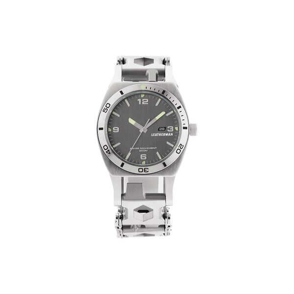 Leatherman Tread Tempo LT multi-tool watch, front view, stainless steel, 28 tools image number 1