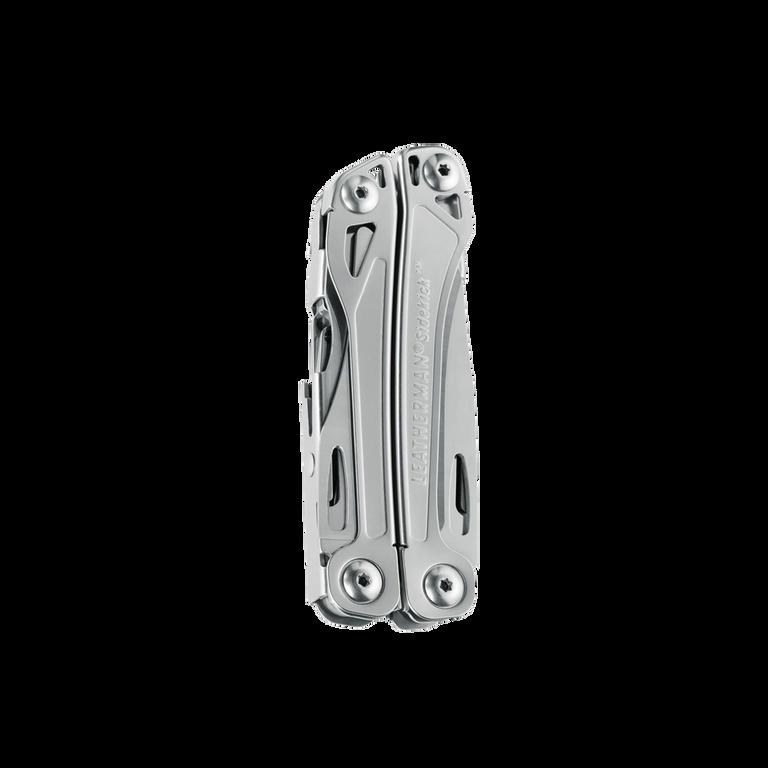 Leatherman sidekick multi-tool, stainless steel, pocket sized, 14 tools, closed view