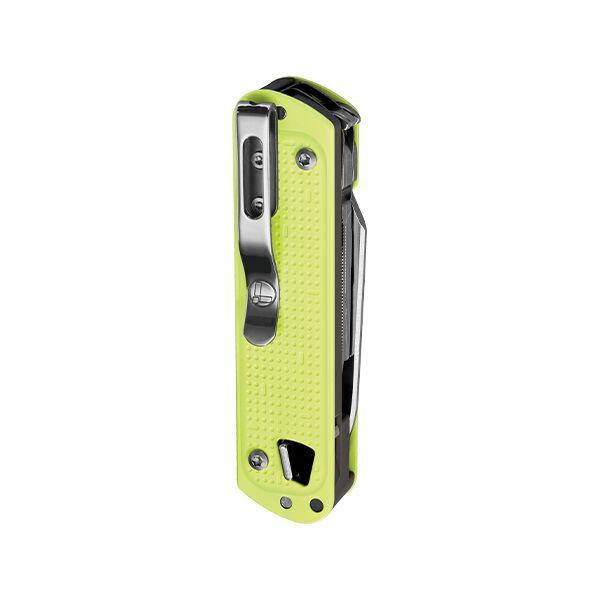 Vue arrière de l'outil de poche et clip de poche Leatherman T4 jaune lunaire avec tous les outils fermés image number 2