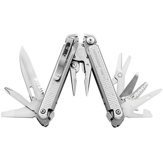 Leatherman FREE P2, stainless steel, open fanned view