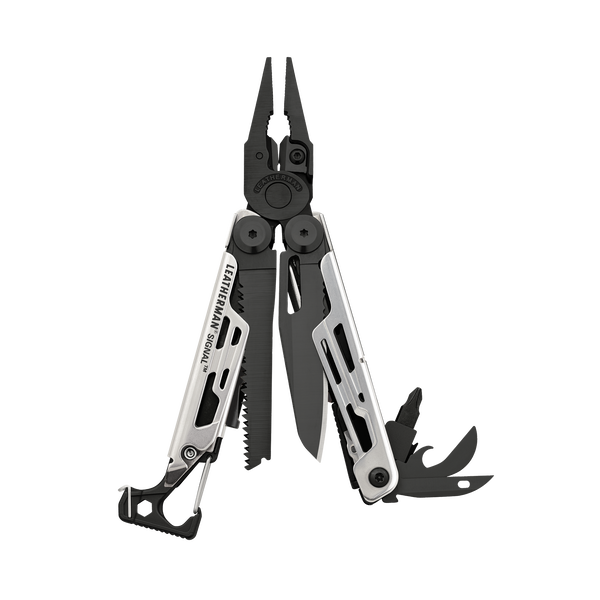 Leatherman signal multi-tool, black & silver, fanned view, 19 tools