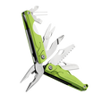 Leatherman leap multi-tool, green, angled open view, 13 tools, children multi-tool