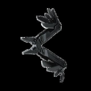 Leatherman Rebar multi-tool, black, 17 tools, angled open view