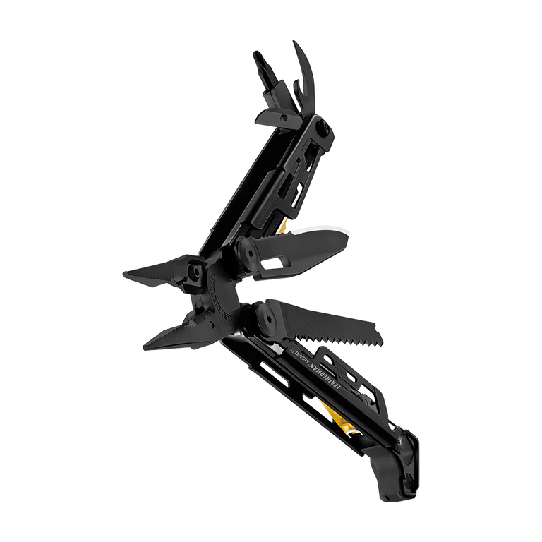 Leatherman signal multi-tool, black, beauty open view, 19 tools