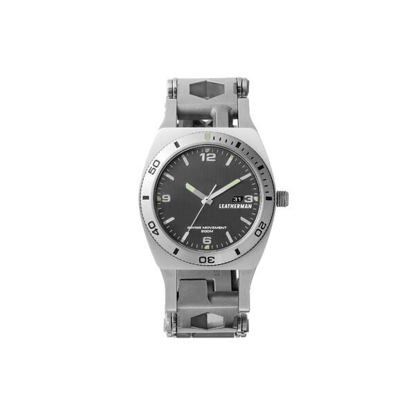 Leatherman tread tempo multi-tool watch in stainless steel, 30 tools, front view image number 1