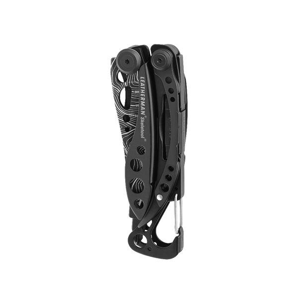 Leatherman Skeletool multi-tool, closed view, black with topo print, 7 tools image number 1