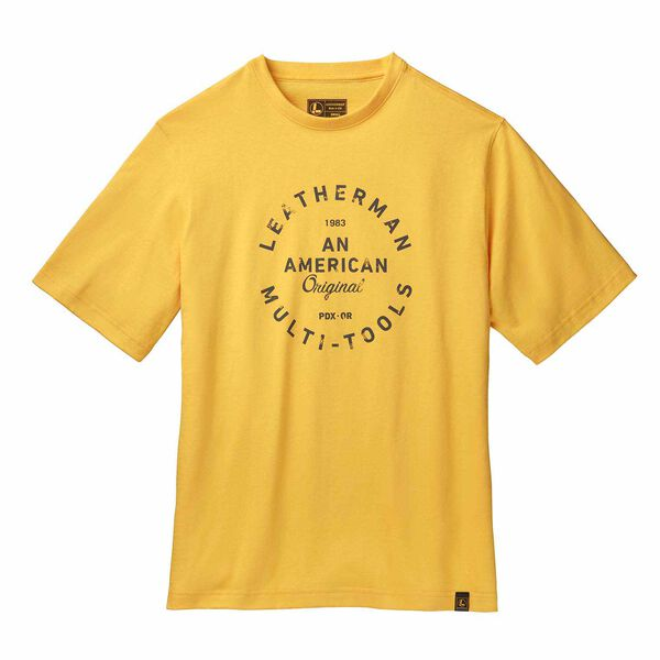 Yellow short sleeve T-Shirt with heritage badge front side image number 0